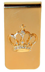 """Crown Money Clip""  Gold tone with crown"