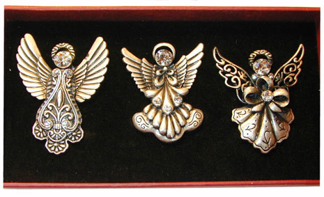 """Pewter Angel Pin Set"" Each pin accented with a clear CZ."