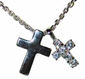 """Sterling Silver Marcasite Cross"" Set with multi colored round CZs.. 18"" Chain included."