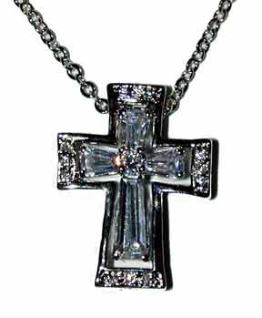 """Your Love"" Cross within a cross. Rhoduim plated with clear CZ's 16"" chain with extender."