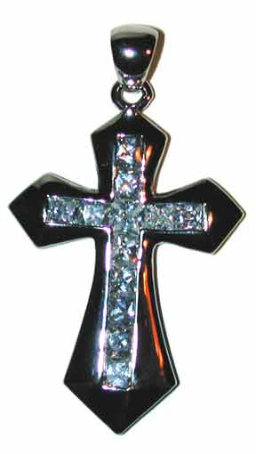 """Savior""  – Sterling Silver Cross set with clear CZ's Chain not included"