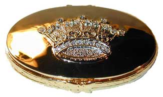 """Mirror Compact"" Gold tone compact with crystal accented crown on lid."