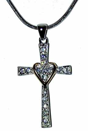 """My Beloved's"" Cross with heart. Silver tone cross accented with gold tone heart. 16"" Chain w/extender included."