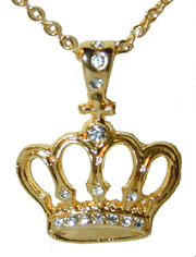 """Crown and Cross Pendant"" Gold tone pendant, set with clear crystals."