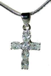 """CZ Cross"" Silver tone set with clear CZ'S. 16"" chain with extender included."