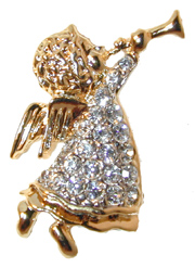"""Trumpeting Angel"" Gold tone Cherub angel with trumpet set with clear crystals. Tie Tack closure."